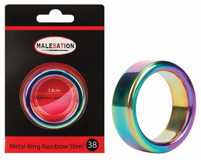 Cockring rainbow edelstaal 16 mm hoog 38 mm doorsnede
